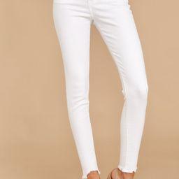 Advanced Basics White Skinny Jeans | Red Dress