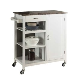 White Auden Kitchen Cart with Faux Marble Top | Wayfair North America