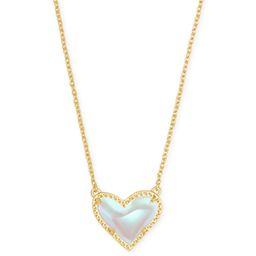 Ari Heart Gold Pendant Necklace in Dichroic Glass   Kendra Scott