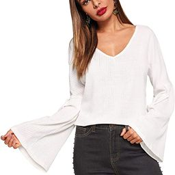 SweatyRocks Women's Deep V Neck Flounce Long Sleeve Knit Sweater Solid T Shirt   Amazon (US)