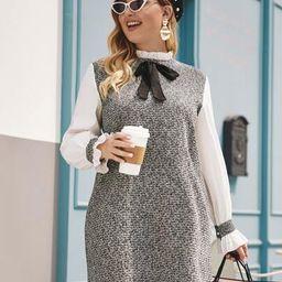 Plus Frill Neck Raw Hem Tweed Tunic Dress | SHEIN