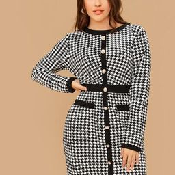SHEIN Plus Single Breasted Contrast Trim Houndstooth Dress | SHEIN
