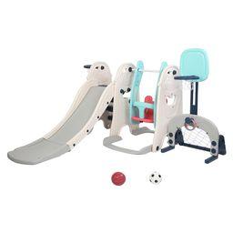 JOYMOR 5 in 1 Children Activity Playset Climbers and Slides,Swing Set,Basketball Stand,Soccer Goa... | Walmart (US)