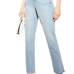 High Waist Raw Hem Straight Leg Jeans | Nordstrom