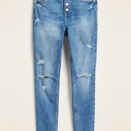 High-Waisted Distressed Button-Fly Rockstar Super Skinny Ankle Jeans for Women | Old Navy (US)