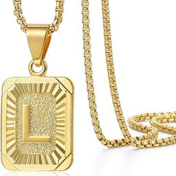 Trendsmax Initial Letter Pendant Necklace Mens Womens Capital Letter Yellow Gold Plated A Z Stain...   Amazon (US)