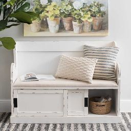 White Storage Pew Bench with Fabric Cushion | Kirkland's Home