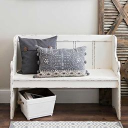 Distressed Ivory Pew Bench | Kirkland's Home