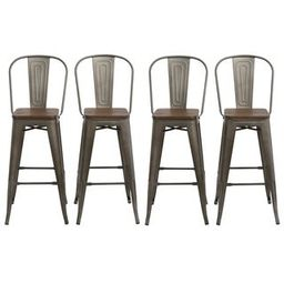 """Antique Bronze Distressed Rustic Wood 30"""" High Back Chair Bar Stools   Overstock"""
