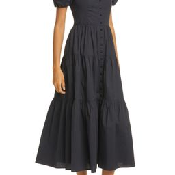 Women's Staud Elio Off The Shoulder Midi Dress, Size 4 - Black   Nordstrom