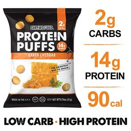 Shrewd Food Low Carb Keto Protein Puffs Baked Cheddar 8 Pack   112g Protein (14g per Serving), 2g...   Amazon (US)