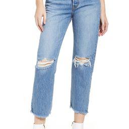 Wedgie High Waist Ripped Crop Straight Leg Jeans | Nordstrom