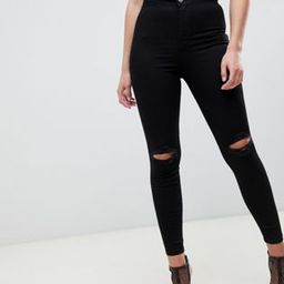 ASOS DESIGN Rivington high waisted jeggings with frayed knee rip detail in clean black | ASOS US