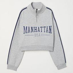 H & M - Stand-up Collar Sweatshirt - Gray   H&M (US)