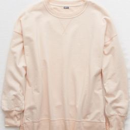 Aerie Oversized Crew Sweatshirt Women's Pink Clay S | American Eagle Outfitters (US & CA)