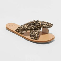 Women's Livia Leopard Knotted Bow Slide Sandals - A New Day Brown 10, Women's | Target