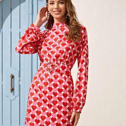 Mock-neck Belted All Over Heart Print Dress | SHEIN