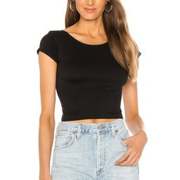 Free People Cap Sleeve SMLS Crop Top in Black from Revolve.com | Revolve Clothing (Global)