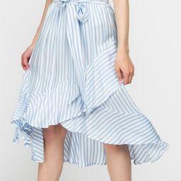 My Beloved Blue & White Stripe Tie-Waist Hi-Low Skirt - Women | Zulily