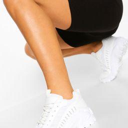 Womens Cleated Sole Chunky Sneakers - White - 10 | Boohoo.com (US & CA)