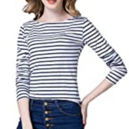 Tulucky Women's Casual Long Sleeve Shirts Stripe Tees Round Neck Tank Tops (WhiteDarkblue, XL) | Amazon (US)
