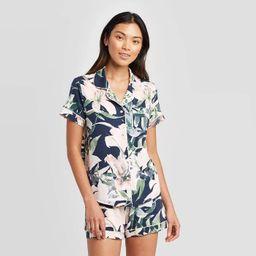 Women's Floral Print Beautifully Soft Notch Collar Pajama Set - Stars Above™ Blue | Target