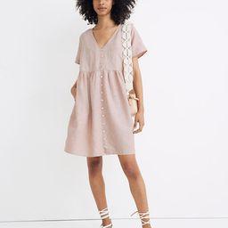 Linen-Blend V-Neck Button-Front Mini Dress   Madewell
