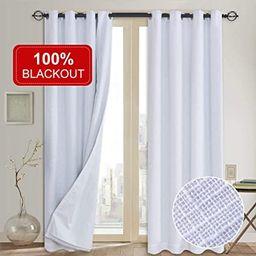 100% Blackout Curtains(with Liner),Primitive Linen Look White Blackout Curtains& Blackout Thermal...   Amazon (US)