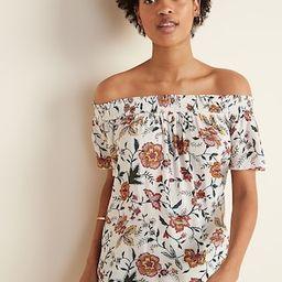 Floral-Print Crinkle-Crepe Off-the-Shoulder Top for Women | Old Navy (US)