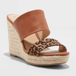 Women's Adelina Microsuede Two Band Espadrille Wedge Pumps - A New Day™ | Target