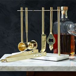 Deco Barware Collection, Brass + Marble (Set of 4) | West Elm (US)