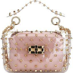Fashion 2 in 1 Clear Tote Bag Rivet Transparent Design Handbag Metal Chain Clutch Purse Shoulder ...   Amazon (US)