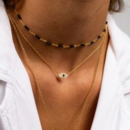 Evil eye necklace, Eye sapphire necklace, Eye charm necklace, Dainty necklace, Minimalist necklac... | Etsy (US)