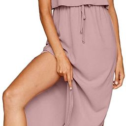Women's Adjustable Strappy Split Summer Beach Casual Midi Dress | Amazon (US)