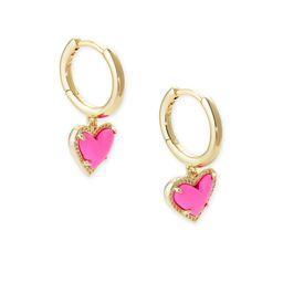 Ari Heart Gold Huggie Earrings in Magenta Magnesite | Kendra Scott
