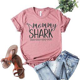 xiangliood Cute Mommy Shark Doo Doo Graphic Short Sleeve T Shirt Tee Gift for Mom Mother   Amazon (US)
