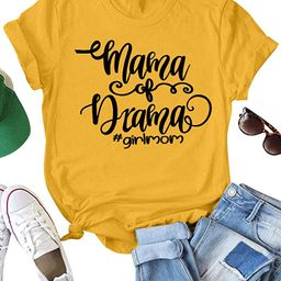 ZXH Women Mama of Drama Girl Mom Letter T-Shirts Graphic T-Shirt Casual Tee Tops   Amazon (US)