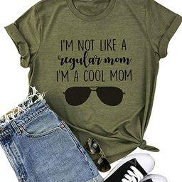 Mom Life Shirts Women I'm NOT Like A Regular MOM I'm A Cool MOM Tshirt Short Sleeve Letter Printe...   Amazon (US)