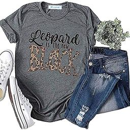 KFulemai Women's Leopard is The New Black T Shirt Cute Short Sleeve Letter Graphic Tees Tops   Amazon (US)