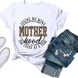 Eoeth Women Mother's Day Mom Leopard Letrer Print Blouse Summer Casual Short Sleeve Tops Shirts T...   Amazon (US)