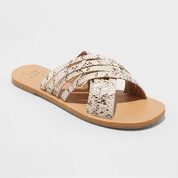 Women's Laila Crossband Strappy Slide Sandals - A New Day Gray 7.5, Women's | Target