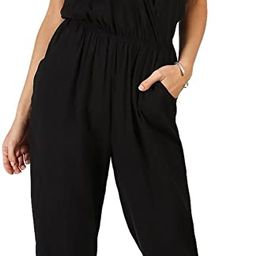 Women's Sexy Sleeveless Surplice Top Pocket Front Wide Tapered Romper Jumpsuit | Amazon (US)