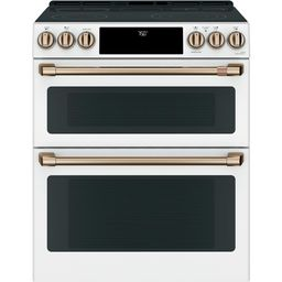 30 in. 7.0 cu. ft. Smart Slide-In Double Oven Electric Range with Convection in Matte White, Fing... | The Home Depot