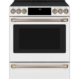 30 in. 5.7 cu. ft. Smart Slide-In Electric Range w/Self-Cleaning Convection Oven in Matte White, ... | The Home Depot