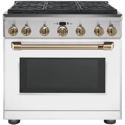 36 in. 6.2 cu. ft. Gas Range with Self-Cleaning Convection Oven in Matte White, Fingerprint Resis... | The Home Depot