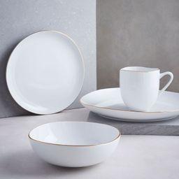 Organic Shaped Porcelain Dinnerware Set - Metallic Rimmed | West Elm (US)
