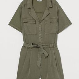 H & M - Lyocell-blend Romper - Green   H&M (US)