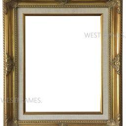 West Frames Estelle Antique Gold Leaf Wood Baroque Picture Frame with Natural Linen Liner | Etsy (US)