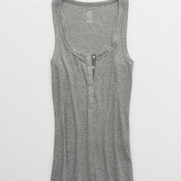 Aerie Gamechanger Henley Tank Women's Dark Heather Gray L   American Eagle Outfitters (US & CA)