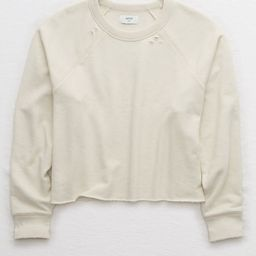 Aerie Sunday Soft Distressed Crew Sweatshirt Women's Empire Cream XXS   American Eagle Outfitters (US & CA)